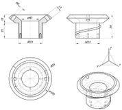 Bushing sketch. Engineering drawing. Vector image Royalty Free Stock Image