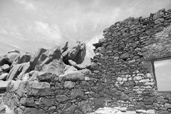 Bushiribana Gold Smelter ruins in black and white. North coast, Aruba Island, tourism, historic Royalty Free Stock Photo