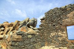 Bushiribana Gold Smelter ruins. North coast, Aruba Island. Tourism, historic Stock Photos