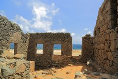 Bushiribana Gold Smelter ruins. North coast, Aruba Island. Tourism, historic Stock Images