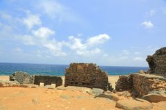 Bushiribana Gold Smelter ruins. North coast, Aruba Island. Tourism, historic Royalty Free Stock Photo