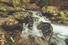 Bushkill Falls in Poconos, PA, surrounded by lush fall foliage stock photography