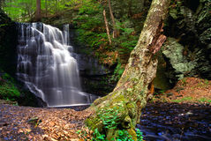 Bushkill Waterfall. One of many waterfalls in Bushkill Pennsylvania. Fed by the Bushkill Creek stock photo