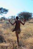 Bushman. Indigenous bushman in the Kalahari desert from San Tribe, Botswana. The San bushmen indigenous community of Southern Africa, whose territory spans most Stock Photos