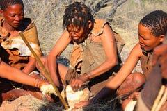 Bushman. Two indigenous bushman in the Kalahari desert from San Tribe, Botswana. The San bushmen indigenous community of Southern Africa, whose territory spans Stock Photos