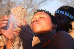 Bushman. Indigenous bushman in the Kalahari desert from San Tribe, Botswana. The San bushmen indigenous community of Southern Africa, whose territory spans most Stock Photo