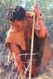 Bushman. Indigenous bushman in the Kalahari desert from San Tribe, Botswana. The San bushmen indigenous community of Southern Africa, whose territory spans most Royalty Free Stock Photography