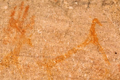 Bushman painting in the Elands cave Royalty Free Stock Image
