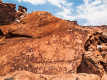 Bushman prehistoric rock engravings in Stock Image
