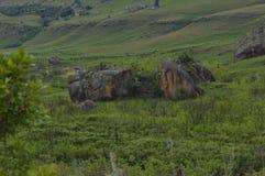 Bushmansen River Valley i jättar rockerar den Kwazulu Natal naturreserven royaltyfria foton