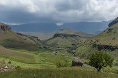 Bushmansen River Valley i jättar rockerar den Kwazulu Natal naturreserven arkivbilder