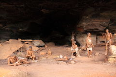 Bushmen cave scene royalty free stock photos