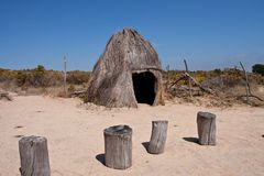 Bushmen grass hut Stock Photography