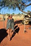 Bushmen hunters in the Kalahari desert, Namibia Royalty Free Stock Photography