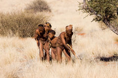 Bushmen hunters. Bushmen san child waiting in the desert in a early cold morning for hunting Stock Photo