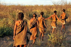 Bushmen in the Kalahari desert. KALAHARI, BOTSWANA - DECEMBER 31, 2008: Bushmen in the Kalahari desert walking in a line royalty free stock image