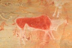 Bushmen rock painting. Bushmen (san) rock painting of an eland antelope and human figures, Drakensberg mountains, South Africa Stock Photo