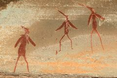 Bushmen rock painting. Bushmen (san) rock painting depicting human figures, Drakensberg mountains, South Africa Royalty Free Stock Photos