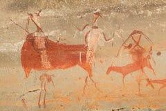Bushmen rock painting. Bushmen (san) rock painting of human figures and antelopes, Drakensberg mountains, South Africa Royalty Free Stock Photos
