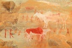 Bushmen rock painting. Bushmen (san) rock painting of humans and antelopes, Drakensberg mountains, South Africa Stock Photo