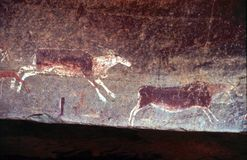 Bushmen (San) rock art in the Drakensberg KZN Royalty Free Stock Photos