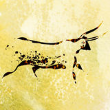 Bushmen san rock painting of bull. Watercolor painting on white background Stock Image