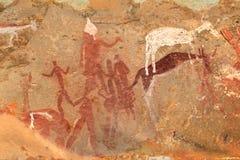 Bushmen rock painting. Bushmen (san) rock painting of human figures and antelopes, Drakensberg mountains, South Africa Stock Photos