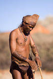 Bushmen sun. Bushmen san, demostration how to start a hunting in the early morning Stock Images