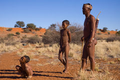 Bushmen sun. Bushmen san, demostration how to start a hunting in the early morning sons watch how to learn Royalty Free Stock Image