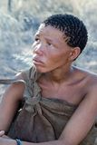 Bushmen woman. Bushmen are one of the first peoples to have inhabited the southern region of the African continent. Yet, today the Bushmen of Botswana are at Stock Image