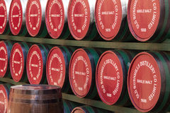 Bushmills whisky wooden casks. Ireland. Wooden casks of the traditional Bushmills whisky. Ireland Royalty Free Stock Photography