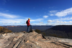 Bushwalker admiring the view from Flat Rock Wentworth Falls Stock Image