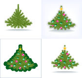 Bushy Christmas tree. With decorations from beads, with a star and without toys Royalty Free Stock Photo