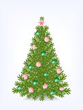 Bushy Christmas tree. With decorations from beads, with a star and without toys Stock Images