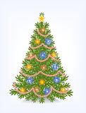 Bushy Christmas tree. With decorations from beads, with a star and without toys Royalty Free Stock Photography