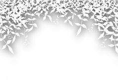 Bushy cutout. Editable  illustration of bushy white foliage cutout with background shadow made using a gradient mesh Royalty Free Stock Image
