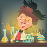 Bushy haired mad professor in lab coat experimenting with flasks. Sitting at the table, cartoon illustration. Crazy comic scientist, mad professor, chemist Stock Photos