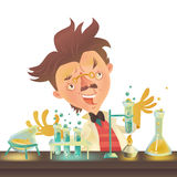 Bushy haired mad professor in lab coat experimenting with flasks. Sitting at the table, cartoon illustration. Crazy comic scientist, mad professor, chemist Royalty Free Stock Image