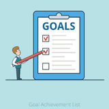 Busi plano linear de Goal Achievement List del hombre de negocios Imágenes de archivo libres de regalías