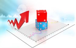 Busies arrow graph with dice stock illustration