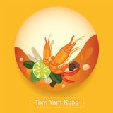 Tom Yam Kung Thai food Label Stock Image