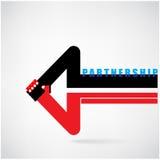 创造性的箭头标志和握手摘要设计标志 Busine 免版税库存照片