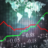 Businees chart. Business chart digits planet earth modern abstract illustration Stock Photo