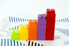 Businees charts with blocks Stock Photo