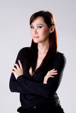 Businees woman with confidence smile. Working woman in formal wear looking confidence smiling Royalty Free Stock Photos