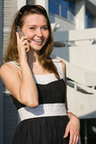 Businees woman speak cellphone Royalty Free Stock Image