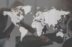 Businees World Worldwide Continent Marketing Concept. Business Poeple Teamwork Continent Concept Stock Photo