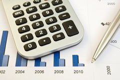 Busines. Calculator and pen on a busines background Royalty Free Stock Photography