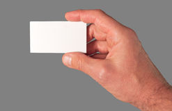 Busines card. Male hand holding an empty business card, isolated on gray Royalty Free Stock Images