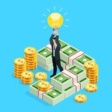 Busines concept of crowdfunding. Isometric businessman with a light bulb over his head as a symbol of a business idea. 3d businessman among the money, packs of Stock Photos